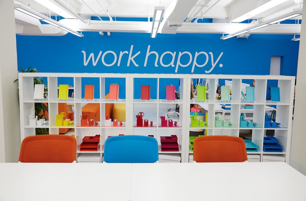 "Today color in the workplace is commonplace and companies such as Poppin provide office furniture and accessories in a rainbow of colors so people can ""work happy."""