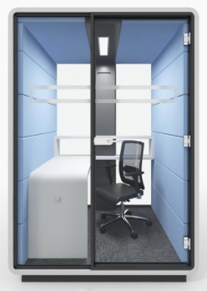 Mikomax Smart Office (7-10034)   Mikomax Smart Office will be featuring the new Hush Line of independent, mobile spaces equipped with the power module, lighting, and ventilation system. Debuting for the first time at NeoCon, Hush Work is the separate mobile space designed specifically for individual work. It is ideal for maximum privacy to focus more efficiently on work.