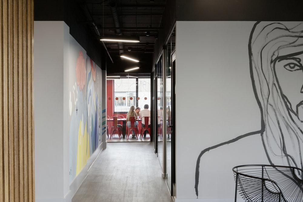 At the Brickhouse, original art enhances unique building features making it memorable to visitors, prospects and clients.