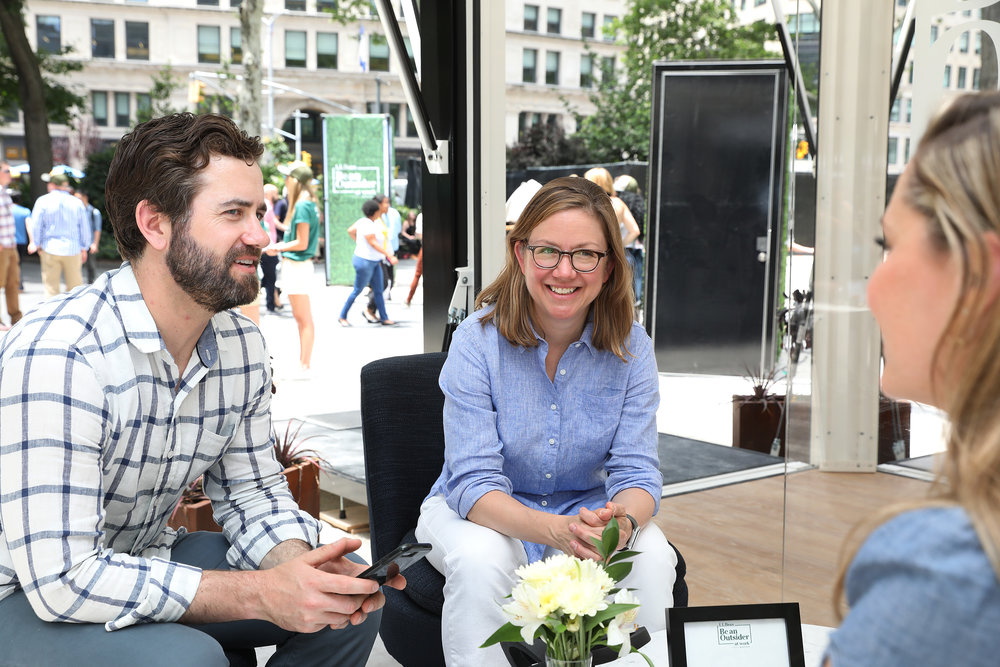 Workspace strategist Leigh Stringer, center, collaborated with L.L. Bean and Industrious to produce the first outdoor coworking popup.