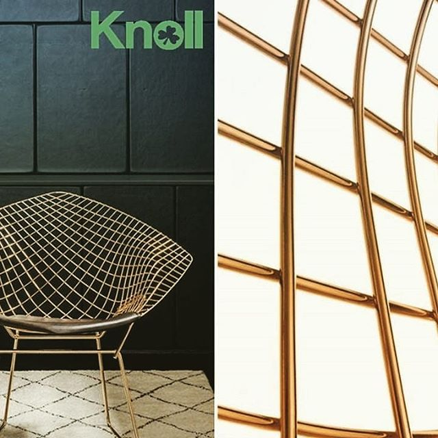 If you couldn't catch the leprechaun with the bucket of gold at the end of the rainbow, Harry Bertoia's Diamond Chair in 18K gold is a worthy substitute. Knoll photo. . . . . . #design #moderndesign #knoll #midcenturymodern #midcentury #midmod #harrybertoia #goldleaf #gilded #gold #leprechaun #potofgold #furniture #furnituredesign #inspo #interiors #stpatricksday #stpattysday