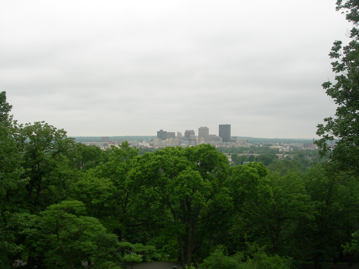 View of downtown Dayton / Woodland Cemetary