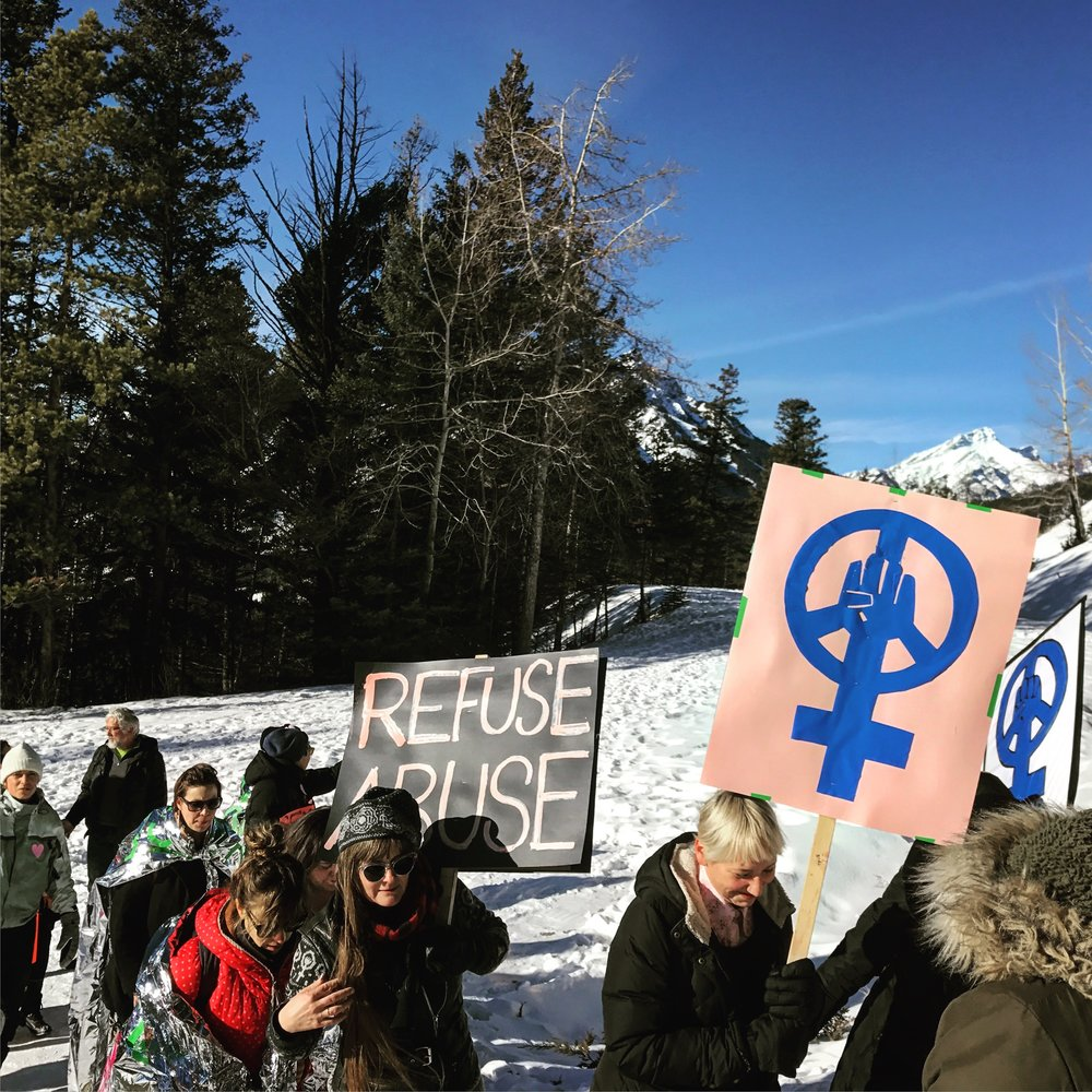 Women's march on Sleeping Buffalo Mountain