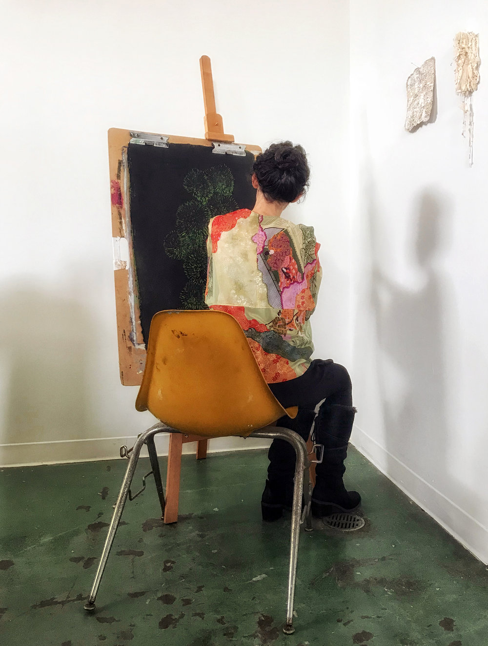 Capturing  Rebecca  in the moment in our shared studio at  Box13 Artspace