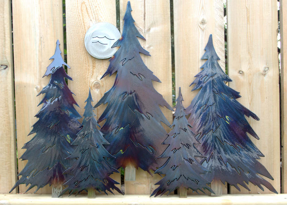 Pine Tree Grouping of Five - 3 Dimensional | cARTer Cottage Décor