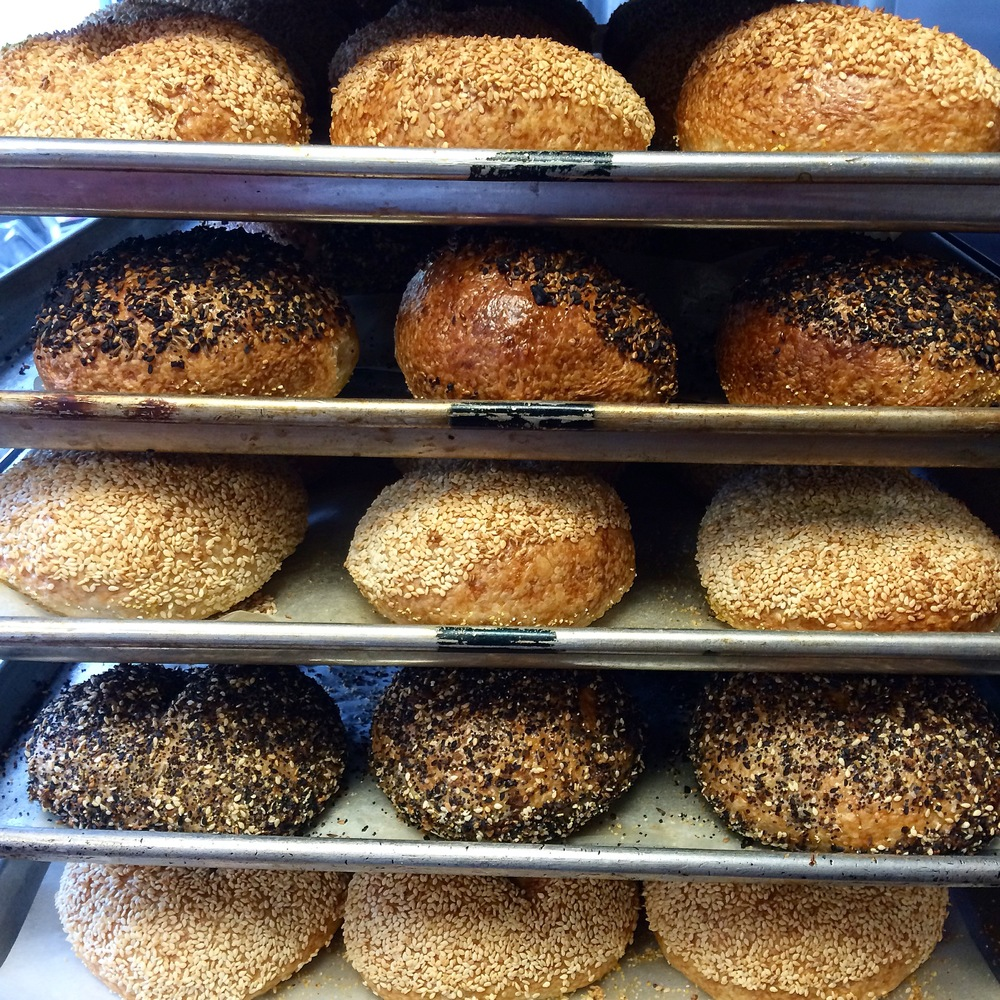 A rack of bagels waiting to be consumed.