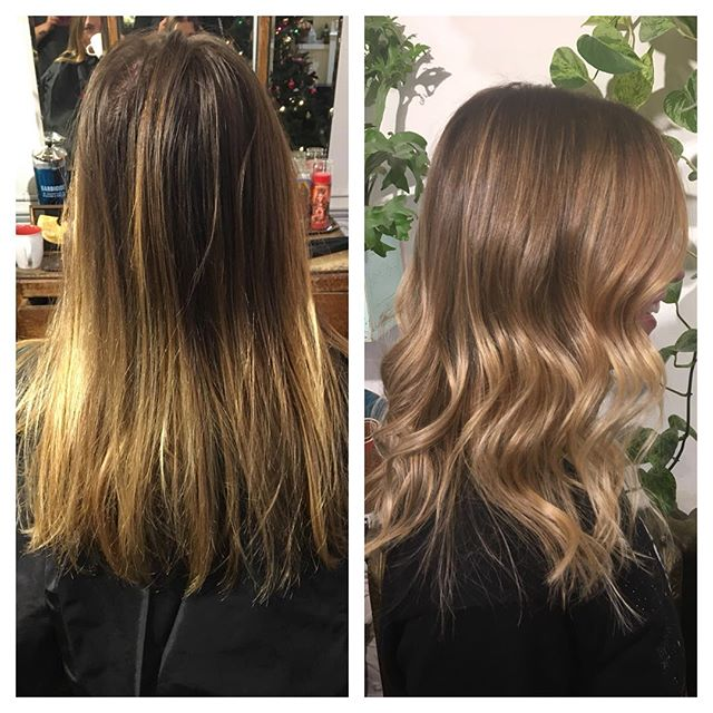 Before and after @thenatzmeowhair #balayage#hairpainting#wella#wellahair#freelights#beachhair#blond#blonde#handpainted#ombre#sombre#yvr#vancouverhair#colorist#livedinhair#livedincolor#babylights