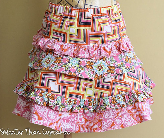 Skirt sewn by Courtney Davis of the Sweeter Than Cupcakes blog using fabrics from Josephine Kimberling's Field Day fabric collection with Blend Fabrics