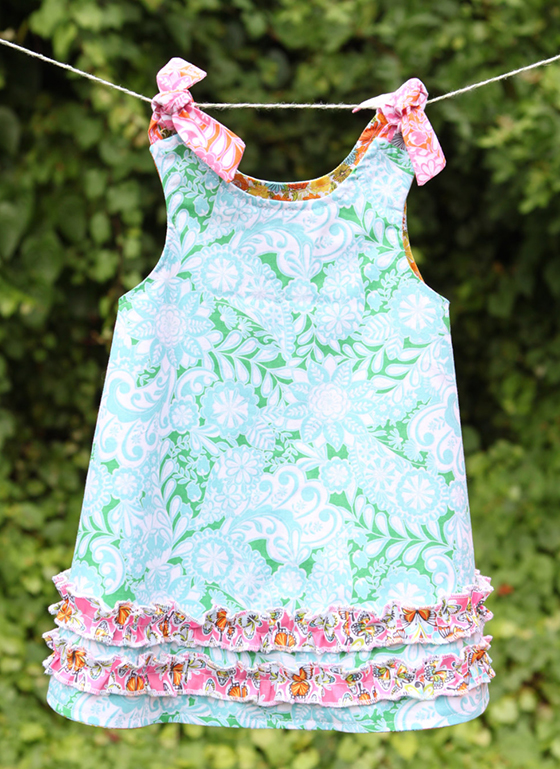 Little girls reversible twirl dress created by LoveJill on Etsy using Josephine Kimberling's Field Day fabrics