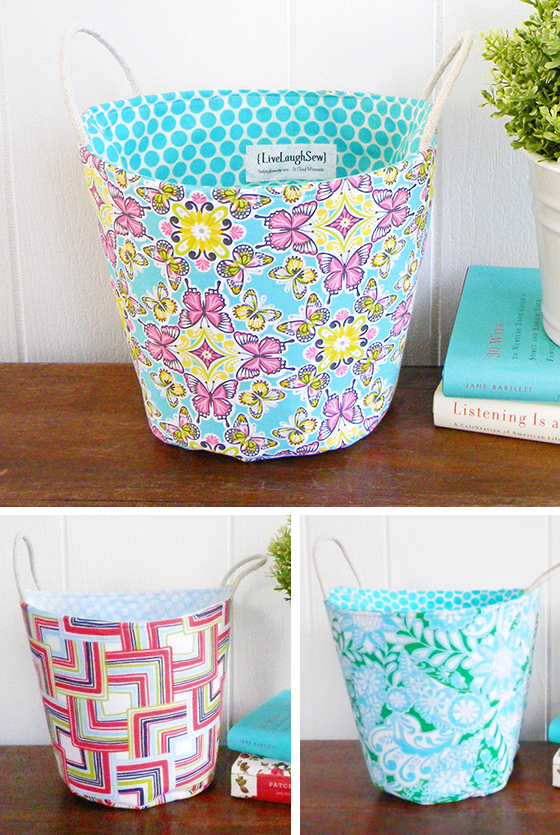 Storage Buckets created by LiveLaughSew on Etsy, using Josephine Kimberling's Field Day fabrics