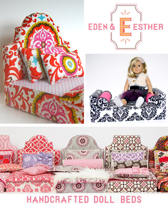 "Eden and Esther on Etsy, creates these gorgeous, handcrafted doll beds for an 18"" doll."
