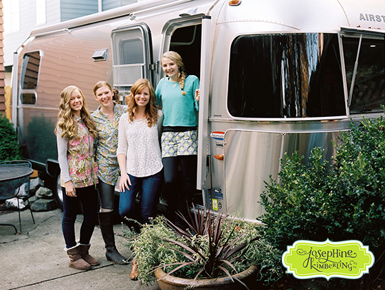 Josephine Kimberling with the girls who modeled in her Caravan Dreams fabric photo shoot