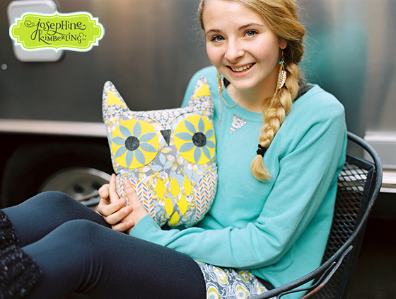 Owl pillow created by Josephine Kimberling and sewn from her 'Caravan Dreams' fabric collection with Blend Fabrics