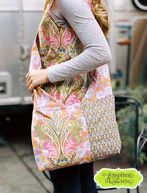 Crossbody bag sewn from Josephine Kimberling's 'Caravan Dreams' fabric collection with Blend Fabrics