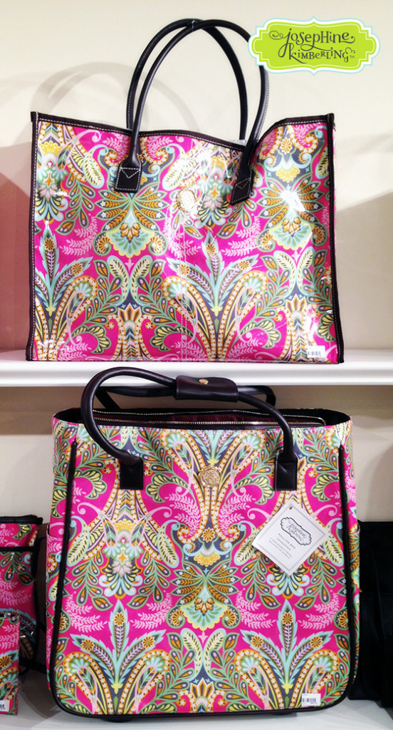 Handbags from Josephine Kimberling's 'Caravan Dreams' Fabric Accessories collection with Blend, the licensing division of Anna Griffin, Inc.