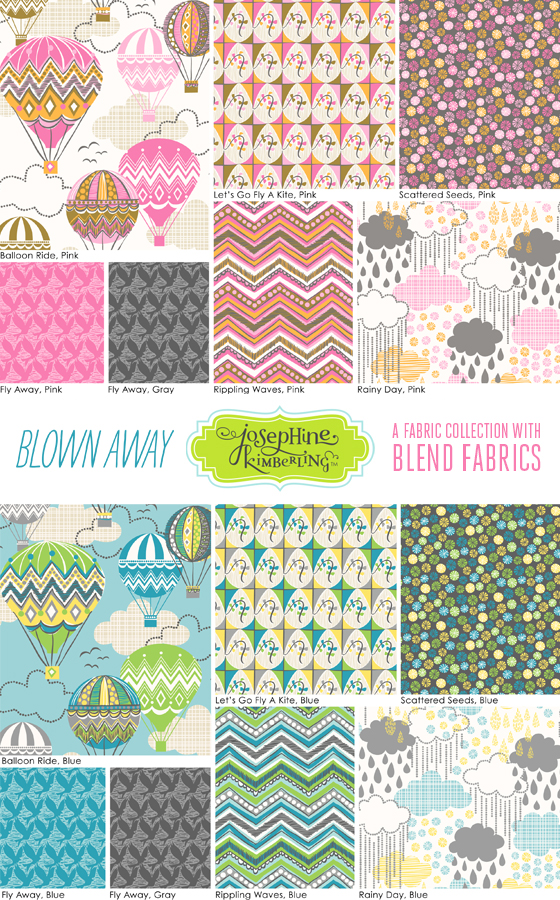 "Josephine Kimberling's latest fabric collection ""Blown Away"" with Blend Fabrics"