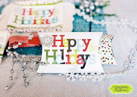 "Josephine Kimberling's ""Happy Holidays"" Pillow Shaped Gift Box with Design Design!"