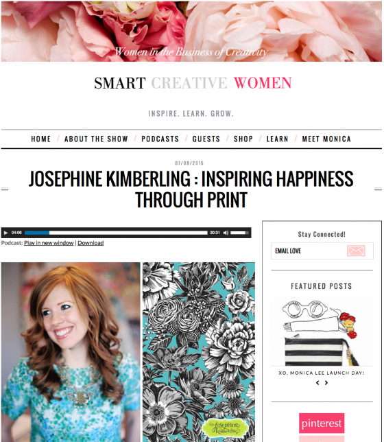 Artist Josephine Kimberling interviewed by Monica Lee of Smart Creative Women