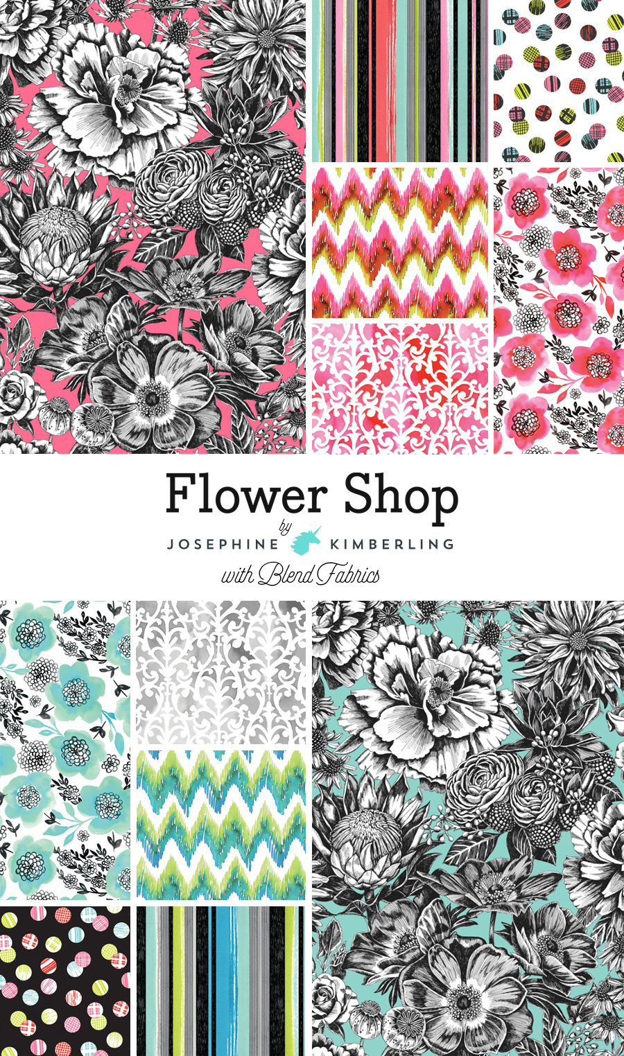 Josephine Kimberlings Flower Shop Fabric Collection with Blend Fabrics