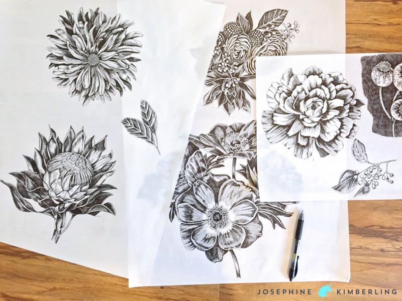 My original pen & ink botanical drawings