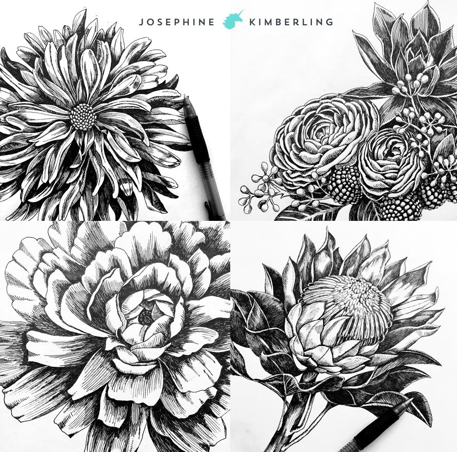Close-ups of the original drawings