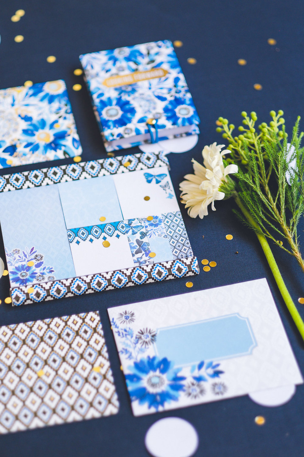 "Stationery items in my ""Nature Trail"" pattern. Loving the blues and blacks with gold accents!"
