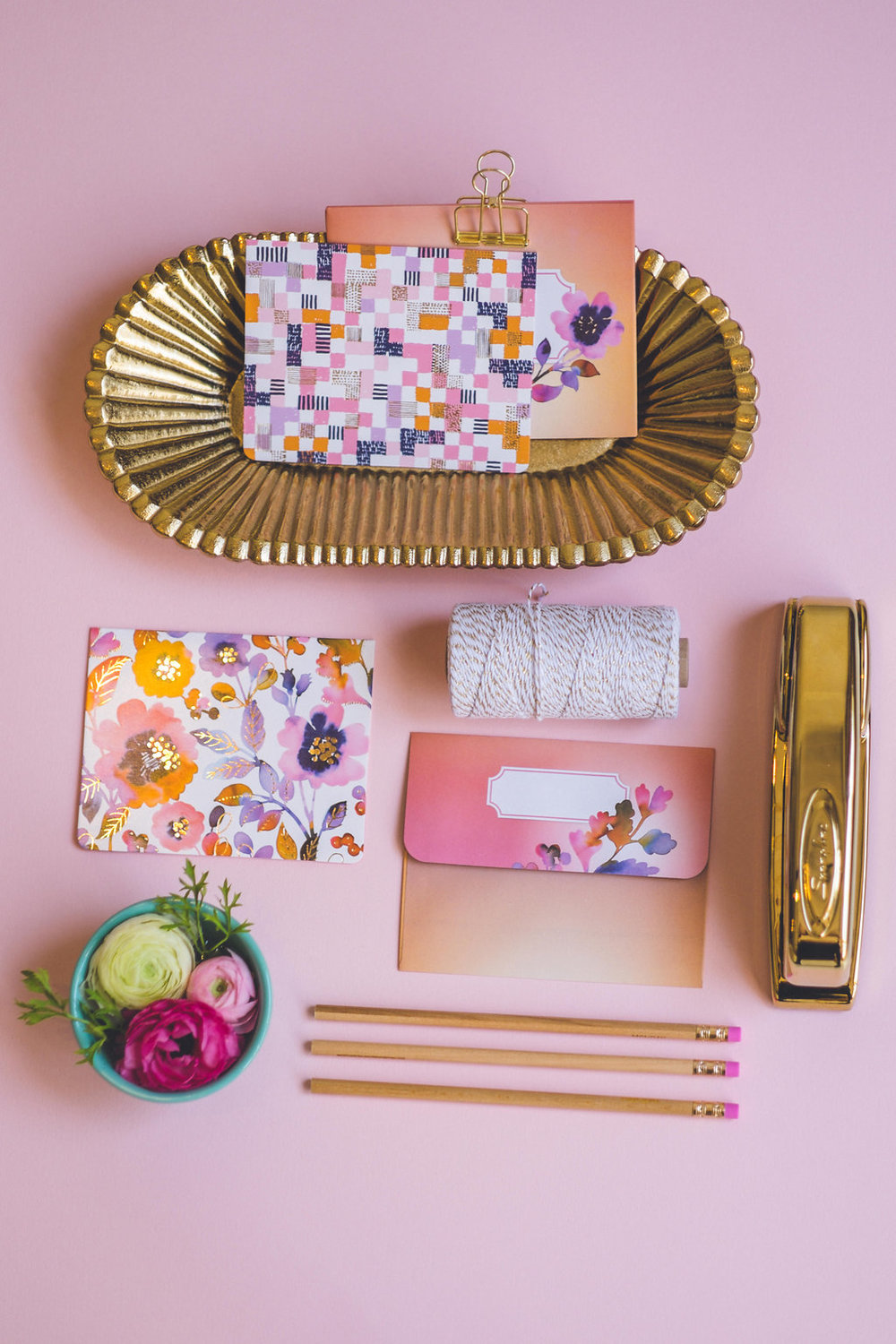 "Stationery items in my ""Paintbox"" patterns. Pink and gold with watercolor flowers for a beautiful feminine look!"