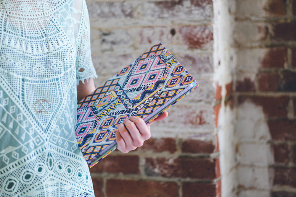 "Padfolio with hidden spiral notebook in my ""Dream Catcher"" pattern is so lovely to carry!"