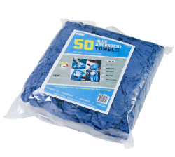 "Retail Packed Blue Huck - These 100% cotton multipurpose towels are low-lint and easily laundered. The towels measure 14"" x 24""."