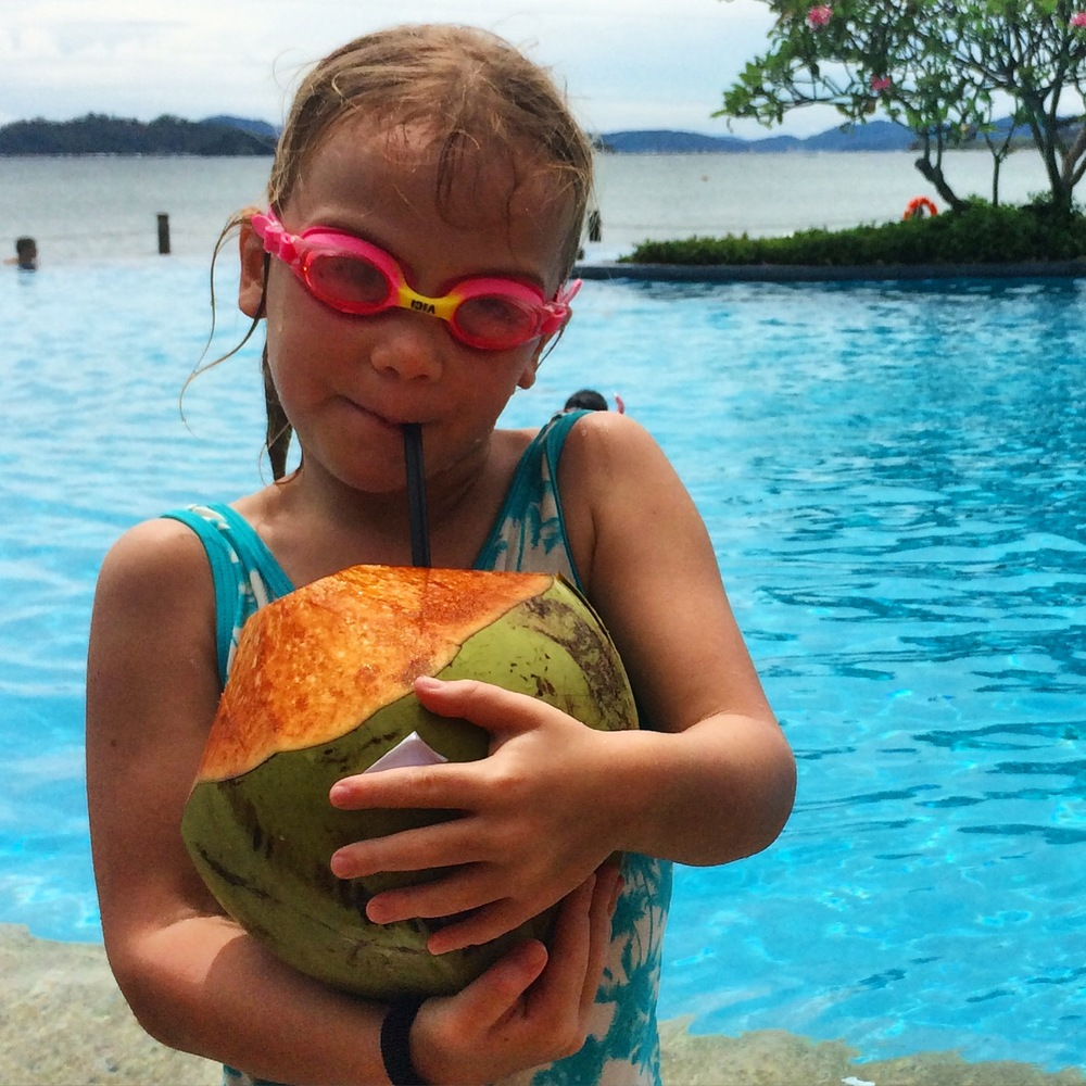 Coconuts bigger than your head at this fabulous family resort - Shangri-La Tanjung Aru, Kota Kinabalu.