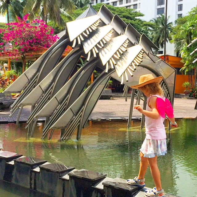 Public art alongside the Sarawak River, Kuching