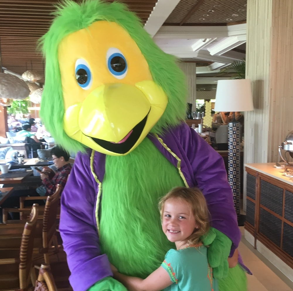 Kids love the Shangri-La Parrot who flies in to visit each day at breakfast