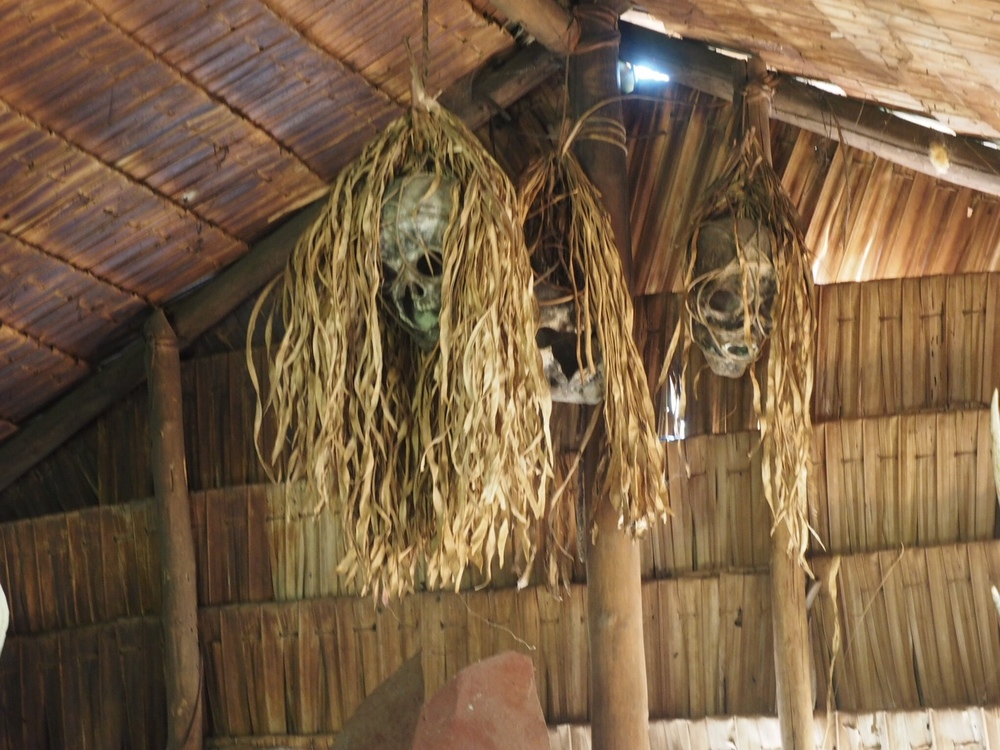 Skulls hanging from the ceiling