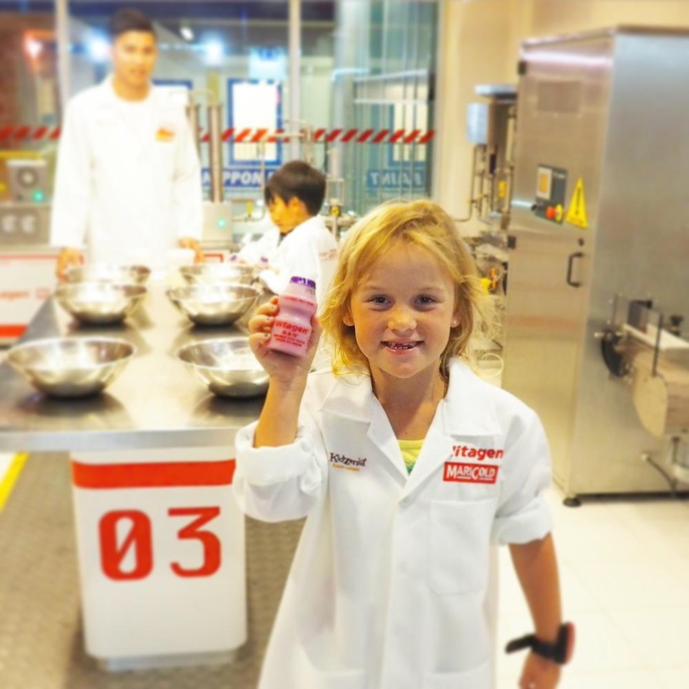 KidZania fun - making a Vitagen milk drink