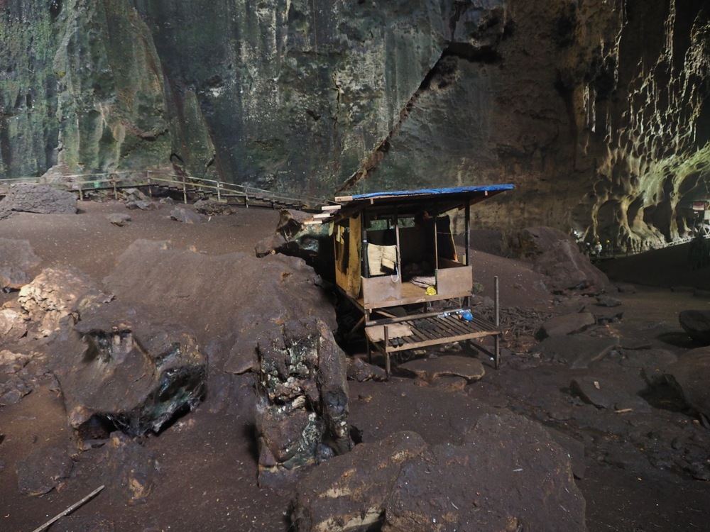 One of the contractor huts inside the cave - I would NOT want to stay here!