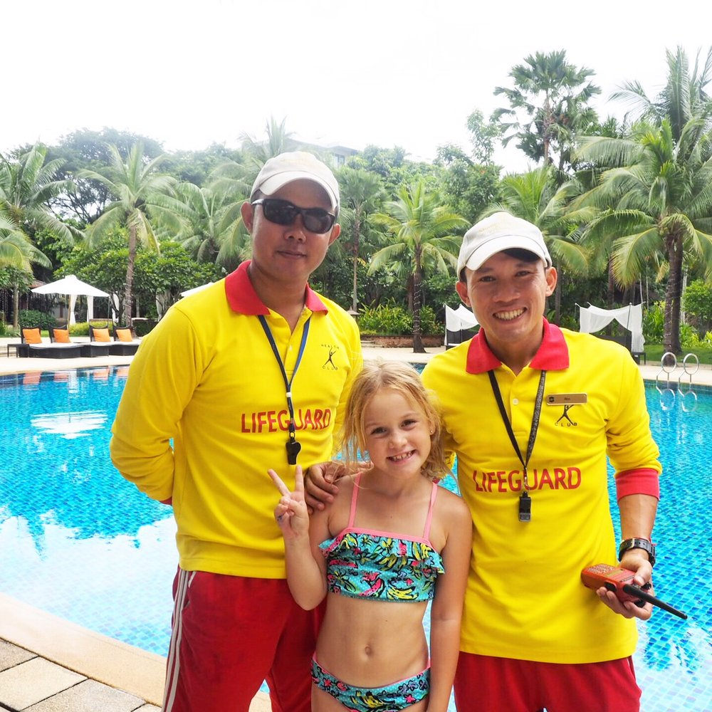 Best kids hotel Chiang Mai - lifeguards at the pool!