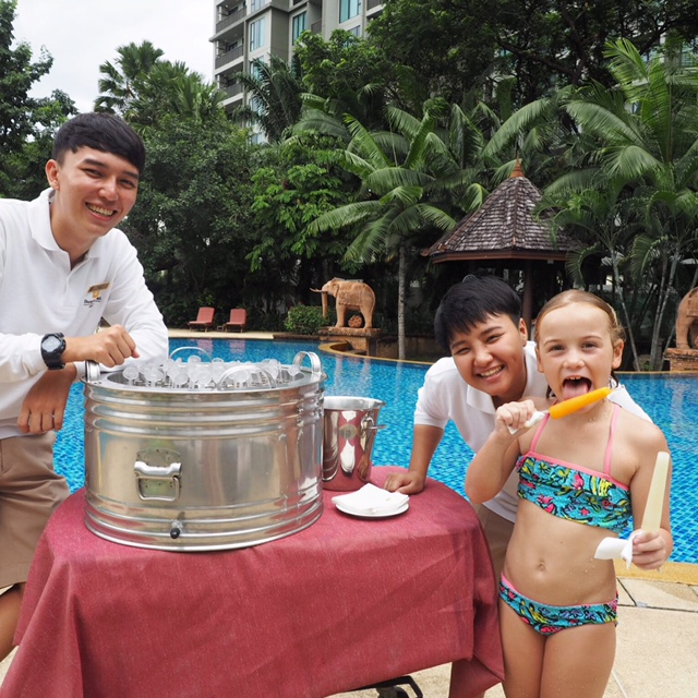 If only all hotels for kids Chiang Mai had pool-side ice block deliveries like this!