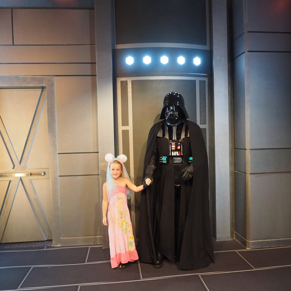 Darth Vader was horrified when Emmie grabbed his hand. Within seconds he was out of her clutches.