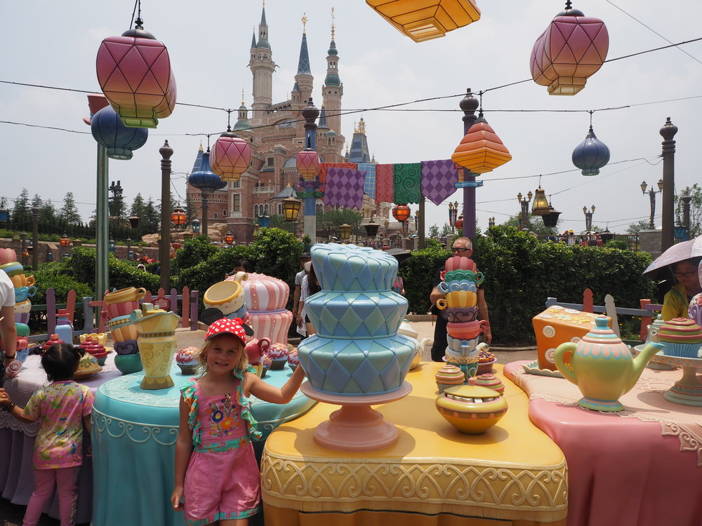The beautifully created Mad Hatter's Tea Party at Shanghai Disneyland