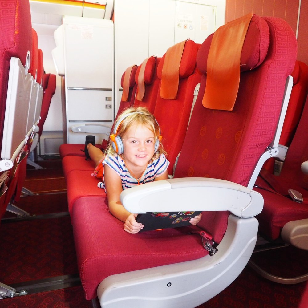 Rows to ourselves and the biggest toilets in the air! Flying Hong Kong airlines.