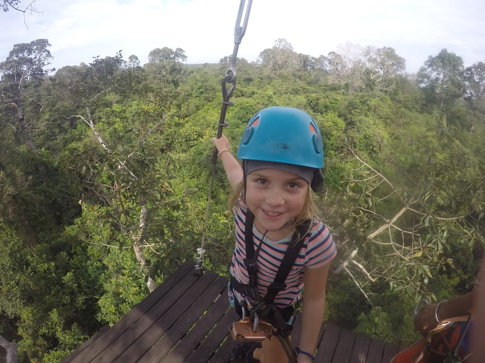 Ziplining at Angkor is a great way to take a break from Temple Time!
