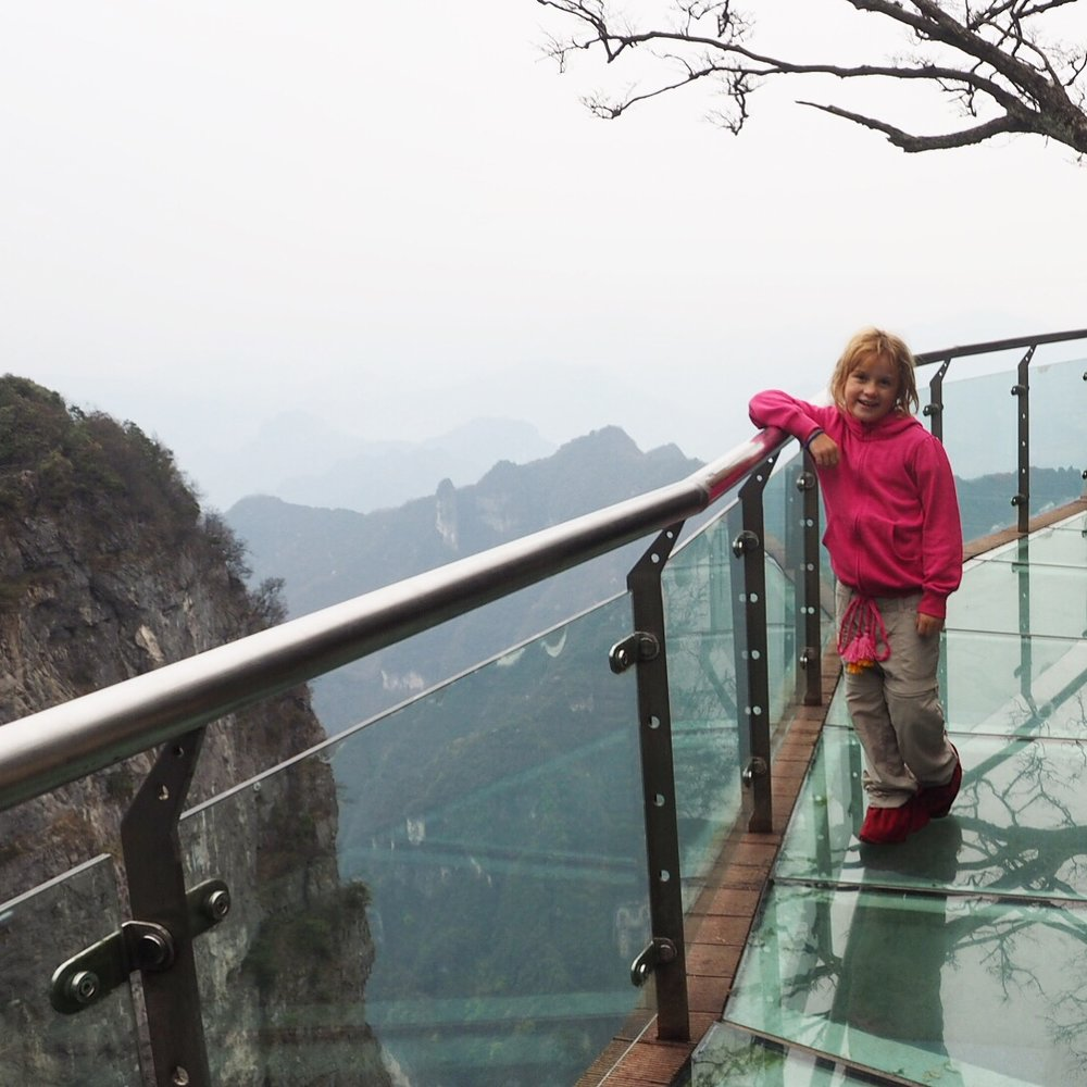 China's glass walkway wasn't crowded at all