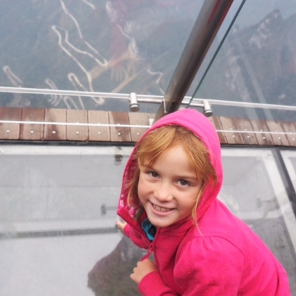 No fear here on the glass walkway