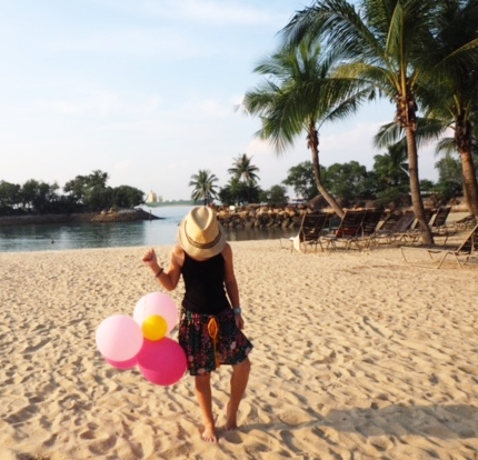 The beach! Perfect for posing with balloons your daughter 'borrowed' from bubbly brunch.