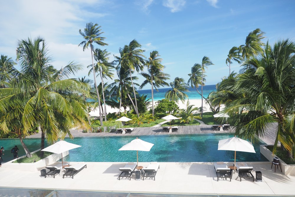 The incredible beach pool at the Park Hyatt Maldives