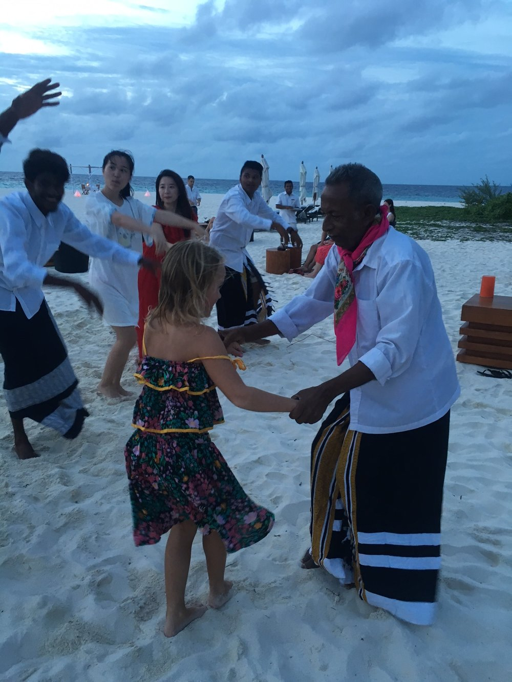 traditional dance on the beach Maldives