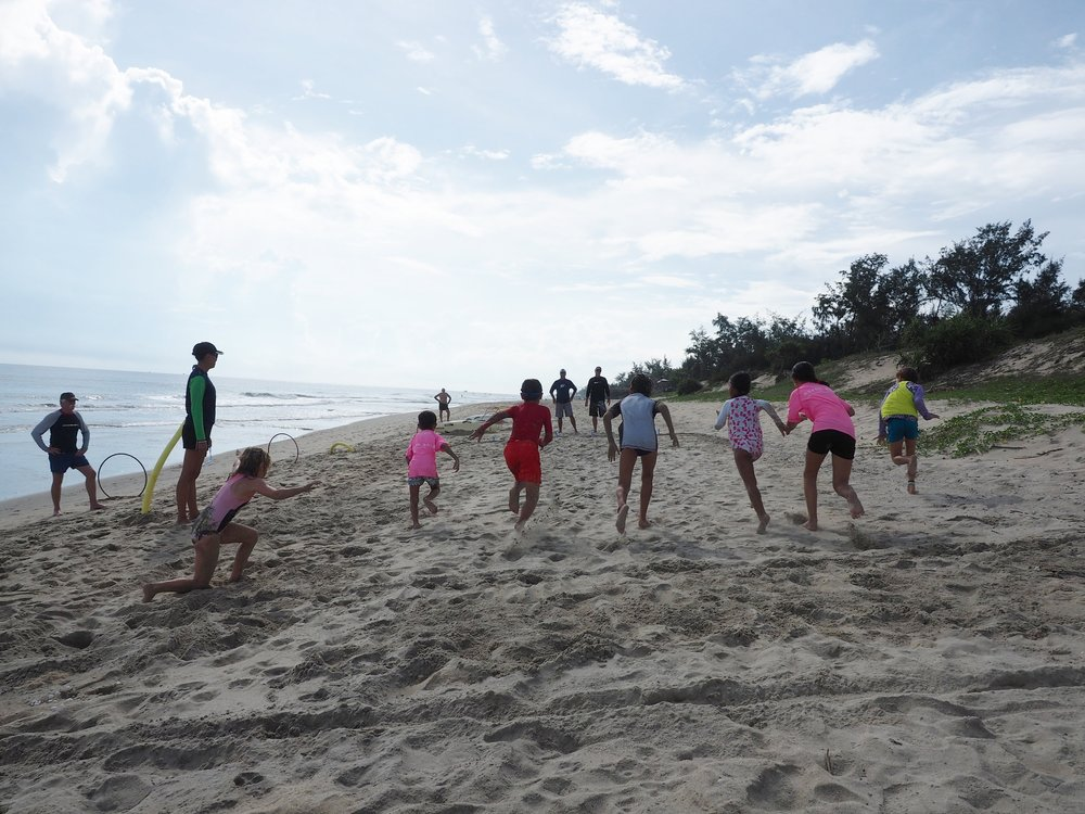 Joining in with Nippers beach safety in Hoi An, Vietnam