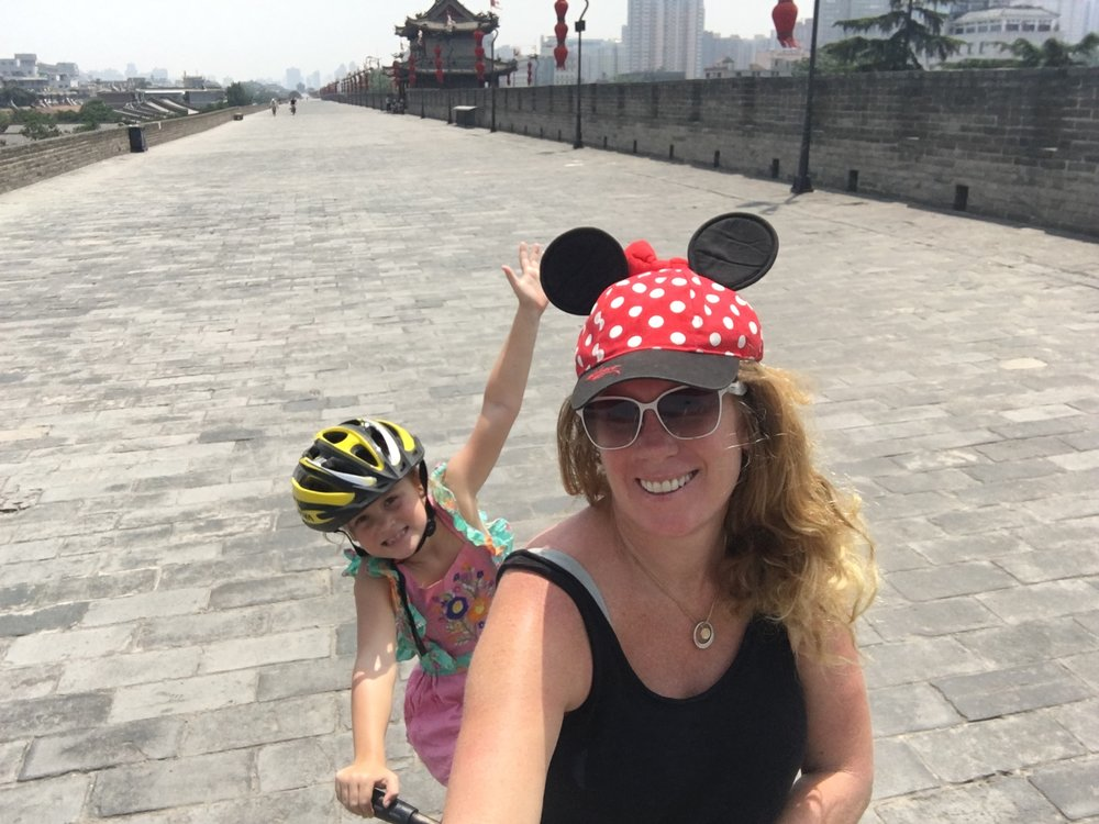 Riding around the Xi'an city wall