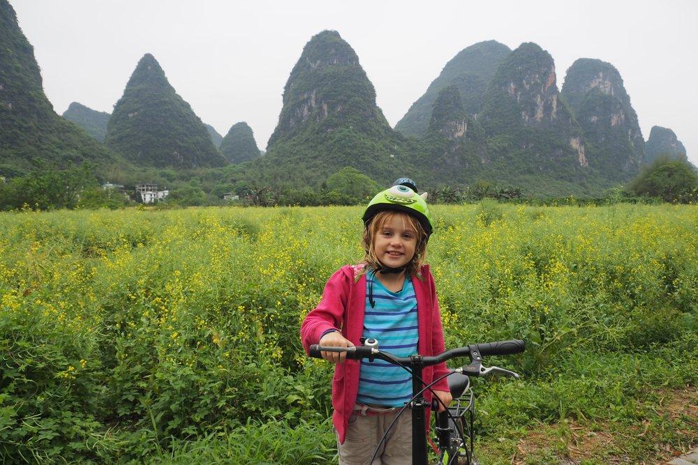 Super fun bike riding with kids in Yangshuo