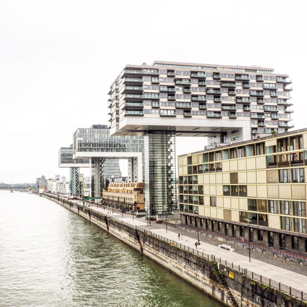 Modern architecture on the Rhine - apartments shaped like industrial wharfs